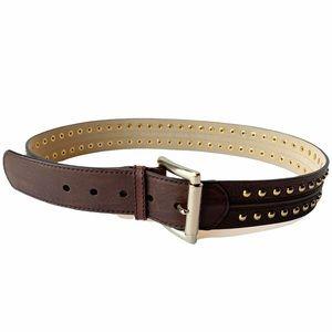 Michael Kors Brown Leather Gold Studded Belt